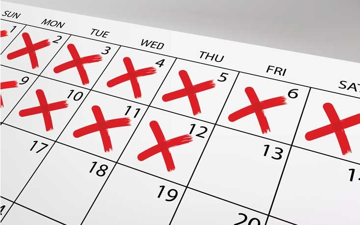 calendar check mark red x cross habit forming