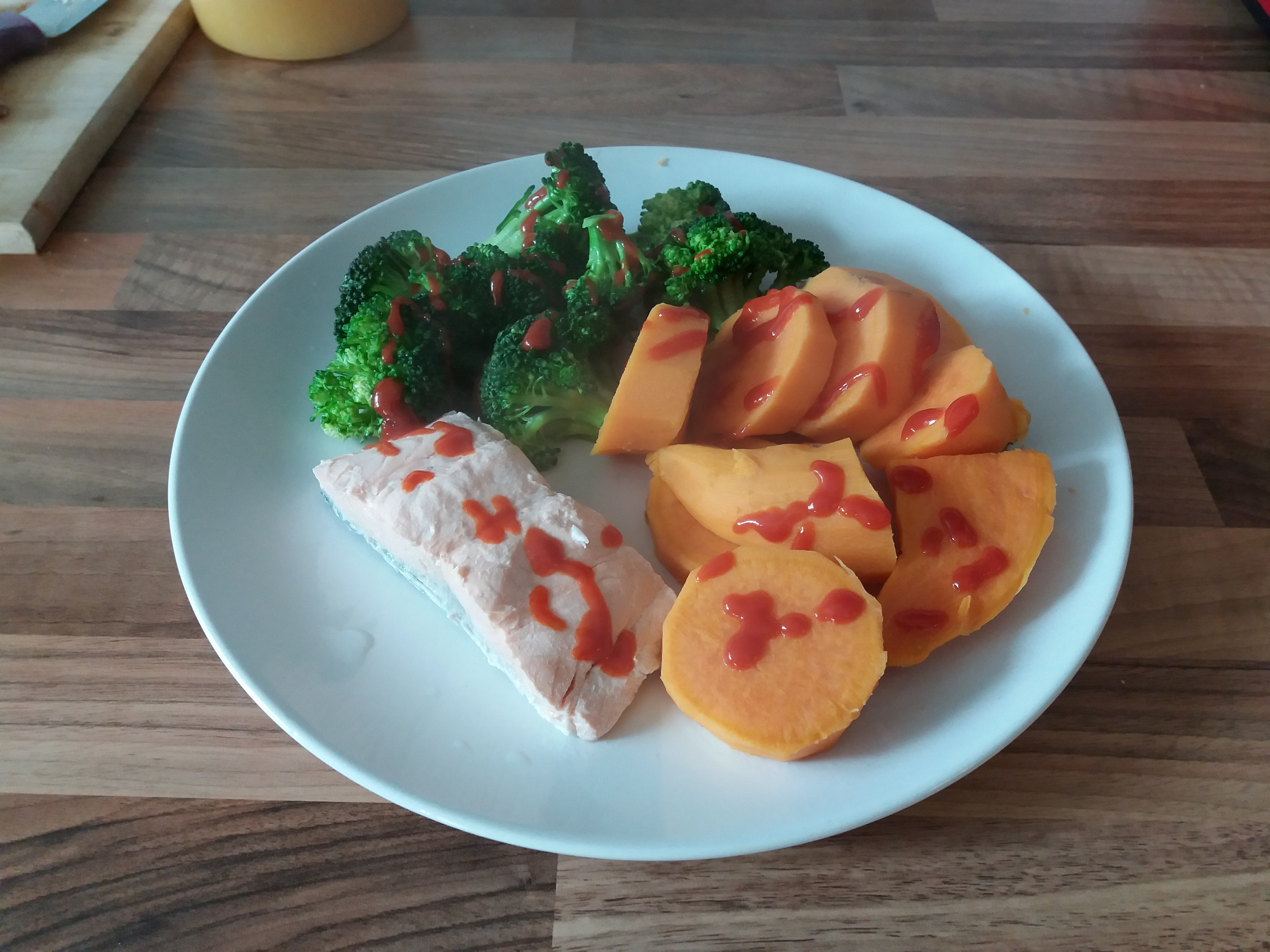 Salmon, Sweet Potato and Broccoli