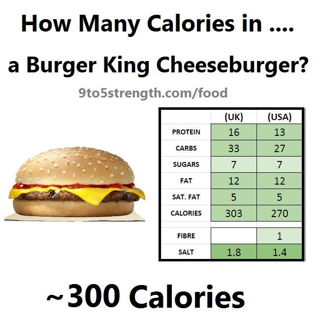 how many calories in burger king cheeseburger