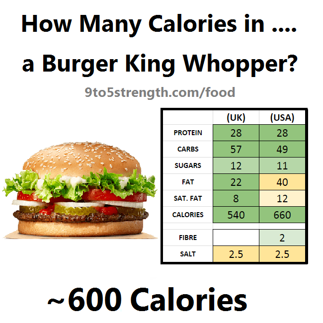 how many calories in burger king whopper