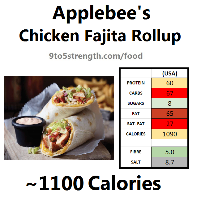 applebee's nutritional information calories chicken fajita rollup