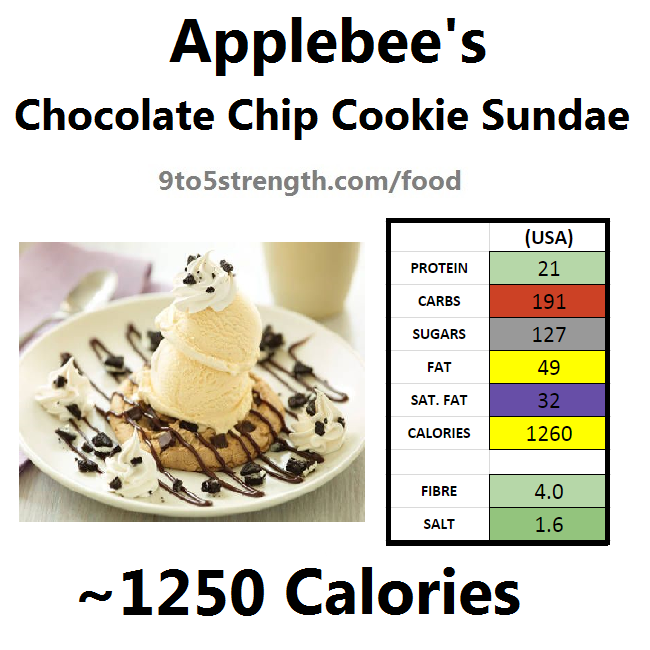 applebee's nutritional information calories chocolate chip cookie sundae