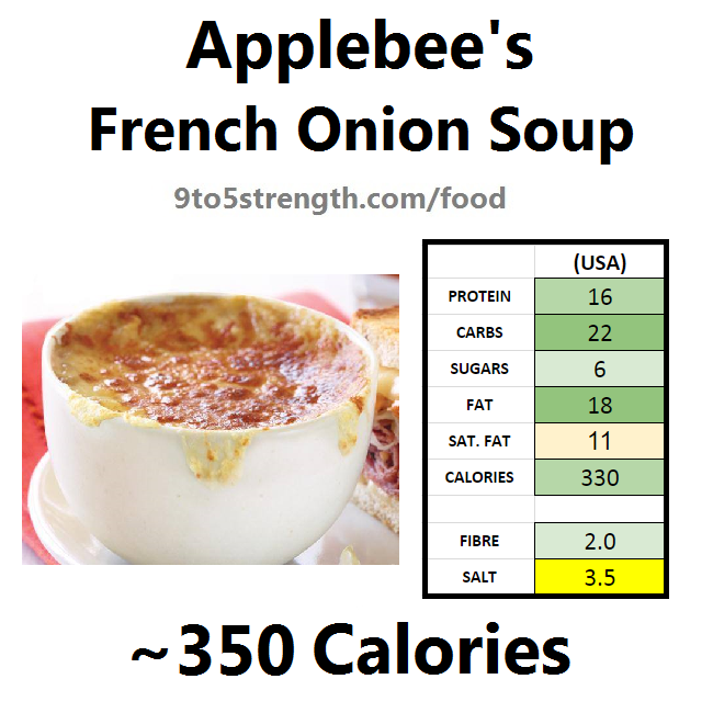 applebee's nutritional information calories soup french onion