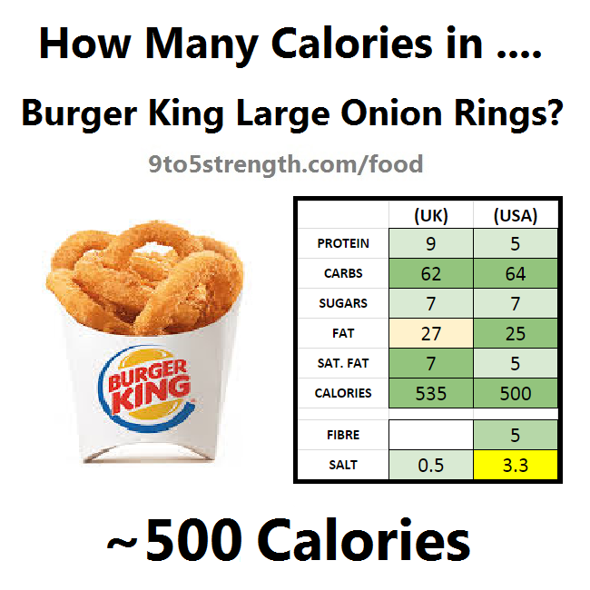 how many calories in burger king large onion rings