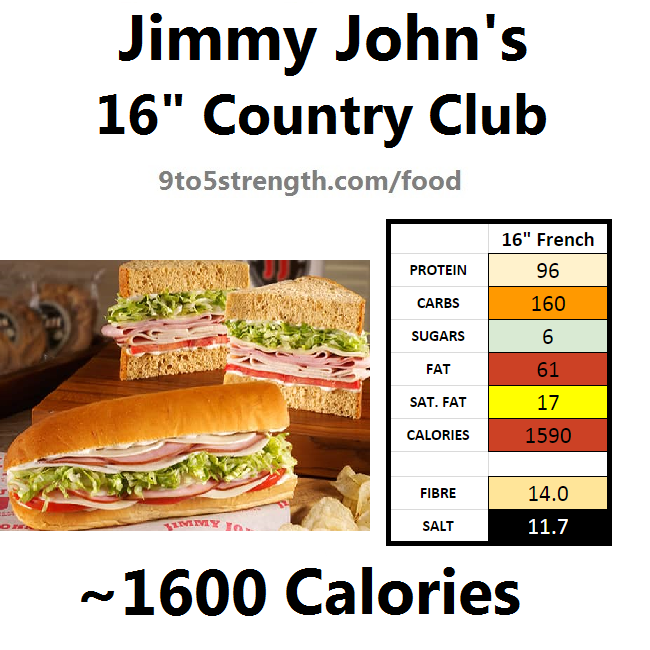 jimmy john's nutrition information calories country club
