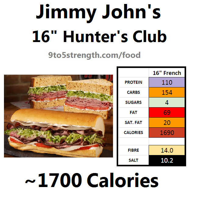 jimmy john's nutrition information calories hunter's club