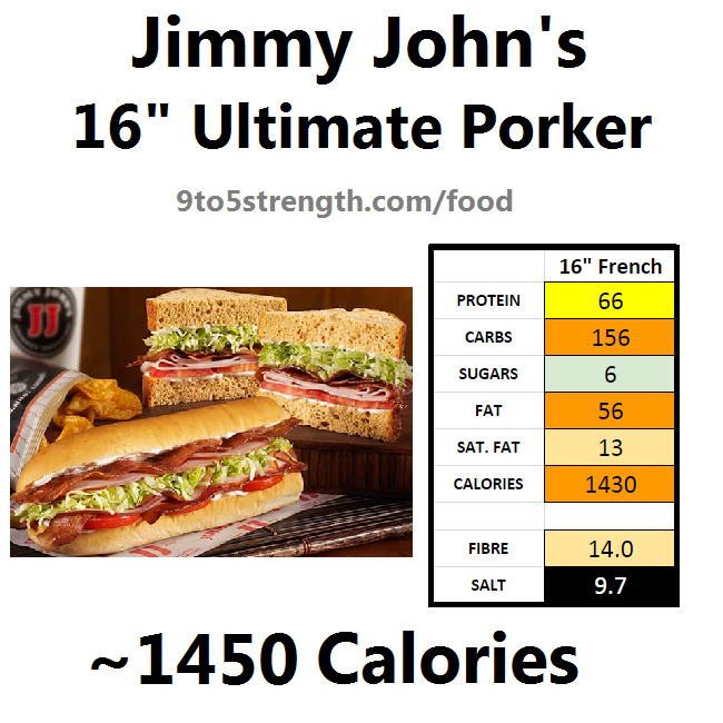 jimmy john's nutrition information calories ultimate porker