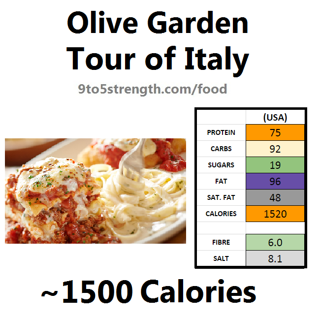 olive garden nutrition information calories tour of italy
