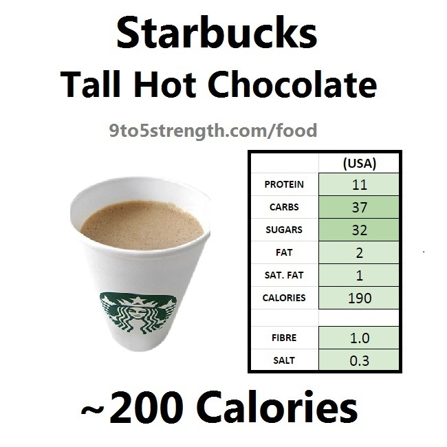 starbucks nutrition information calories hot chocolate