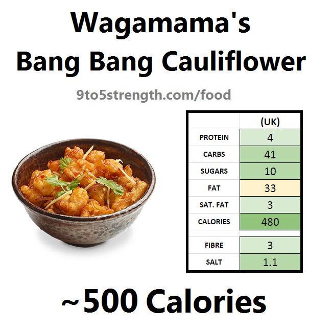 how many calories in wagamama bang bang cauliflower