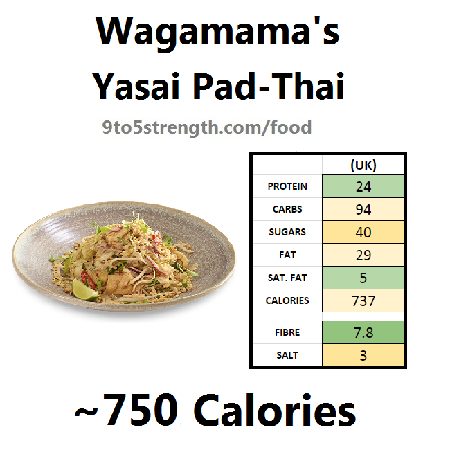 how many calories in wagamama yasai pad-thai