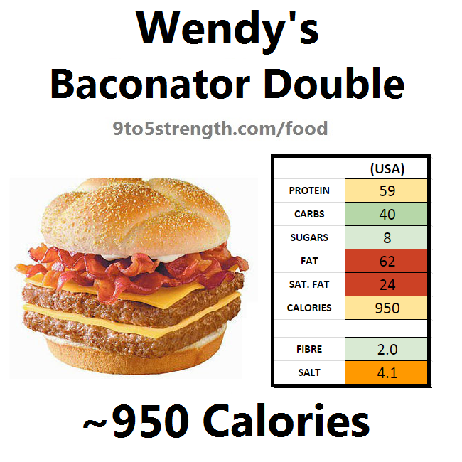 wendy's nutrition information calories baconator double