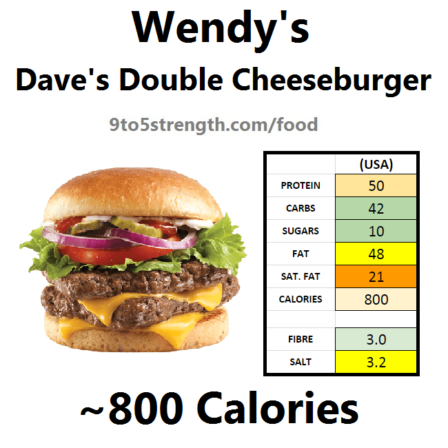 wendy's nutrition information calories dave's double cheeseburger