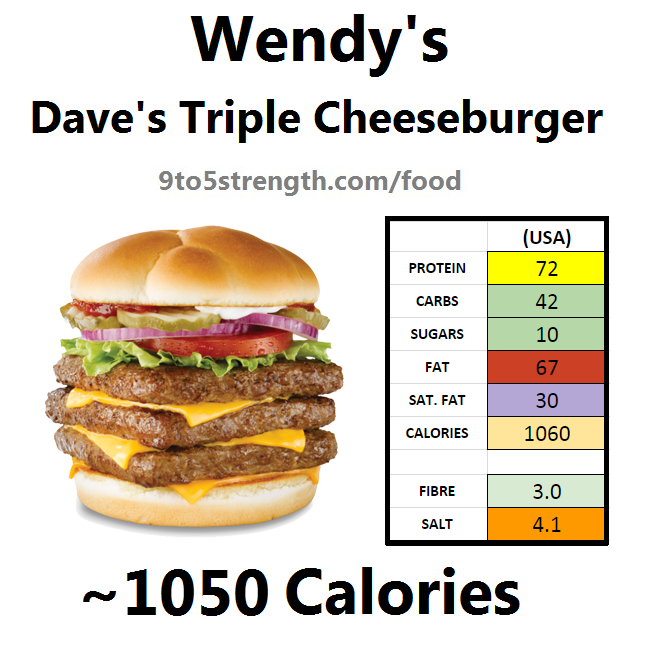 wendy's nutrition information calories dave's triple cheeseburger