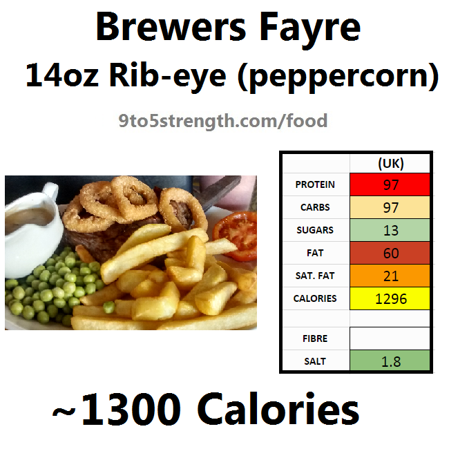 brewers fayre nutrition information calories 14oz rib eye