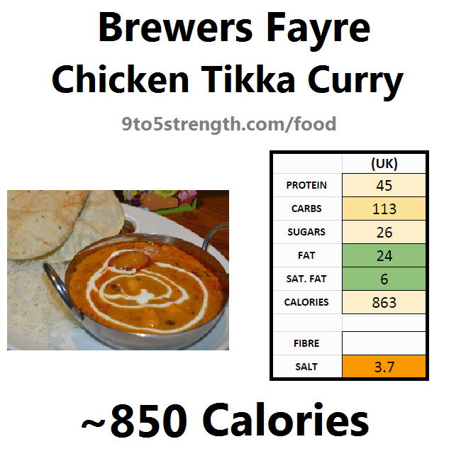 brewers fayre nutrition information calories chicken tikka curry