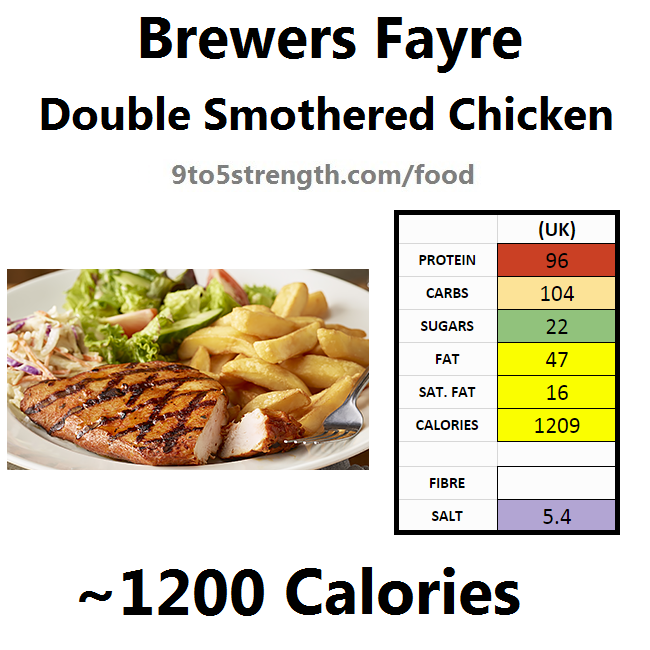 brewers fayre nutrition information calories double smothered chicken
