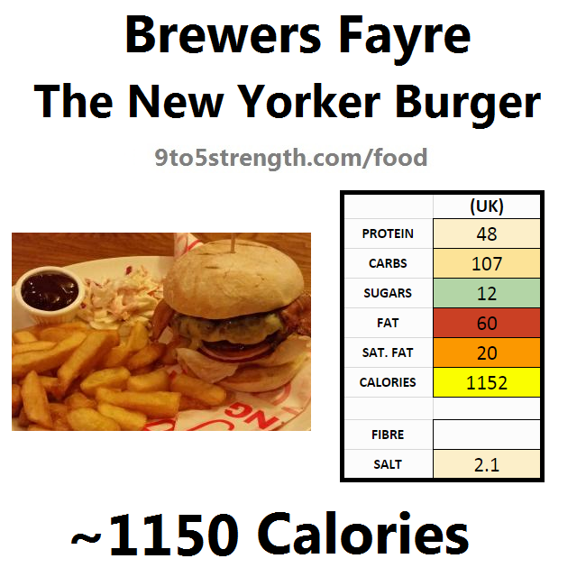brewers fayre nutrition information calories new yorker burger