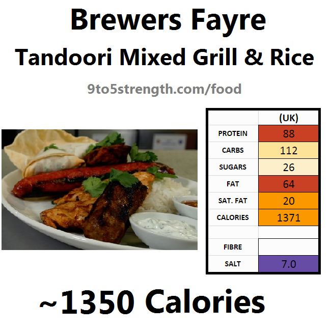 brewers fayre nutrition information calories tandoori mixed grill rice