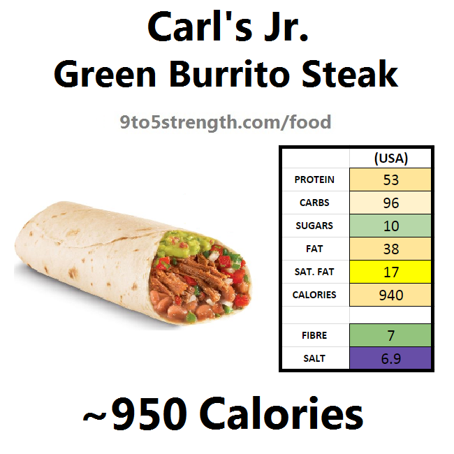 carl's jr calories nutrition information green burrito steak