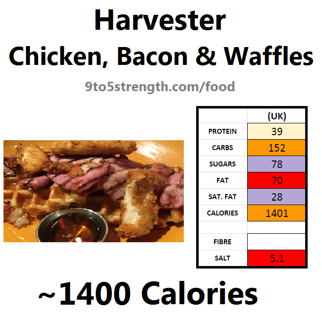 harvester nutrition information calories chicken bacon waffles