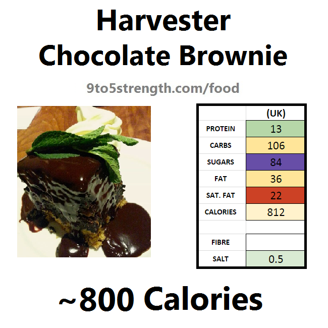 harvester nutrition information calories chocolate brownie