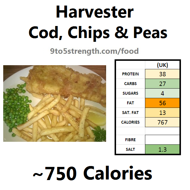 harvester nutrition information calories cod chips peas
