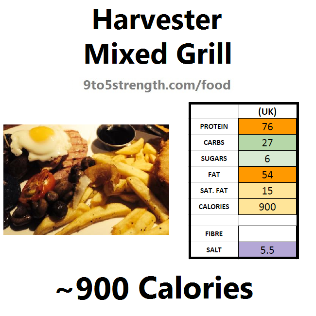 harvester nutrition information calories mixed grill