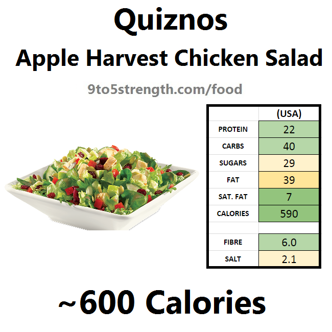 calories quiznos apple harvest chicken salad