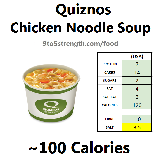 calories quiznos chicken noodle soup
