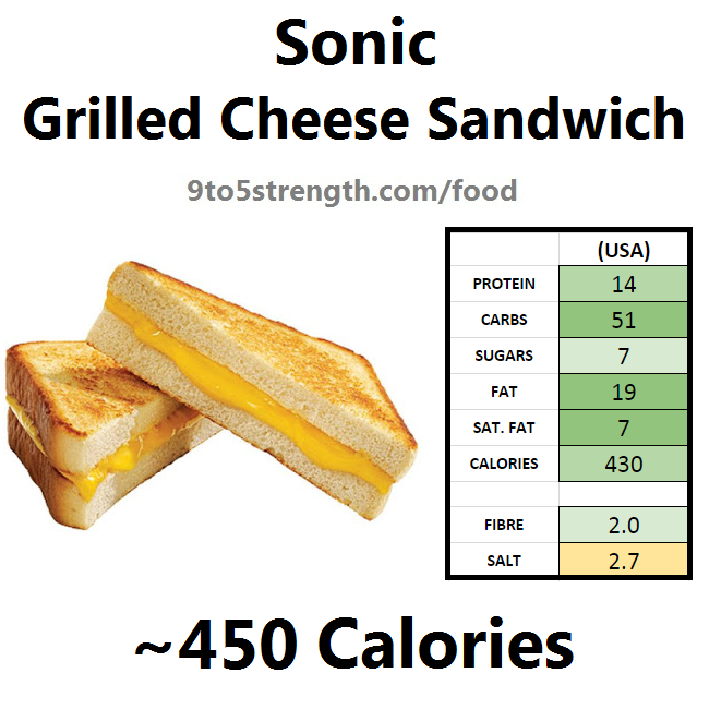 calories in sonic grilled cheese sandwich