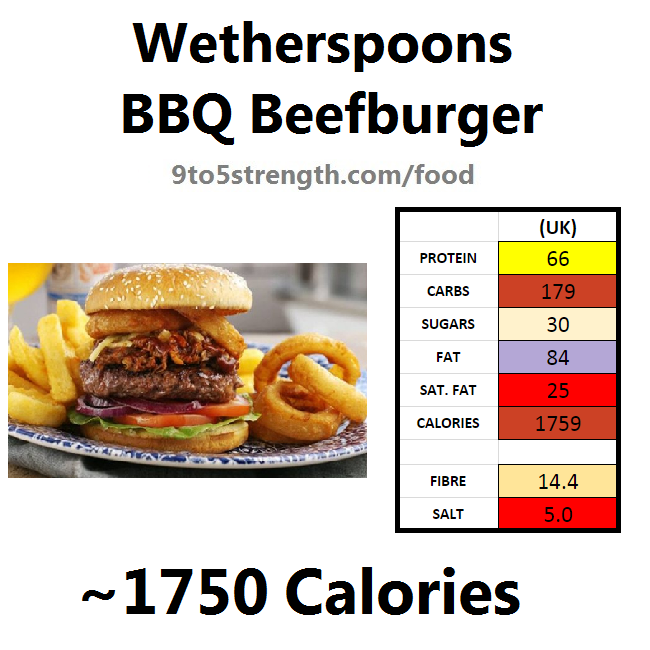 wetherspoons nutrition information calories bbq beefburger