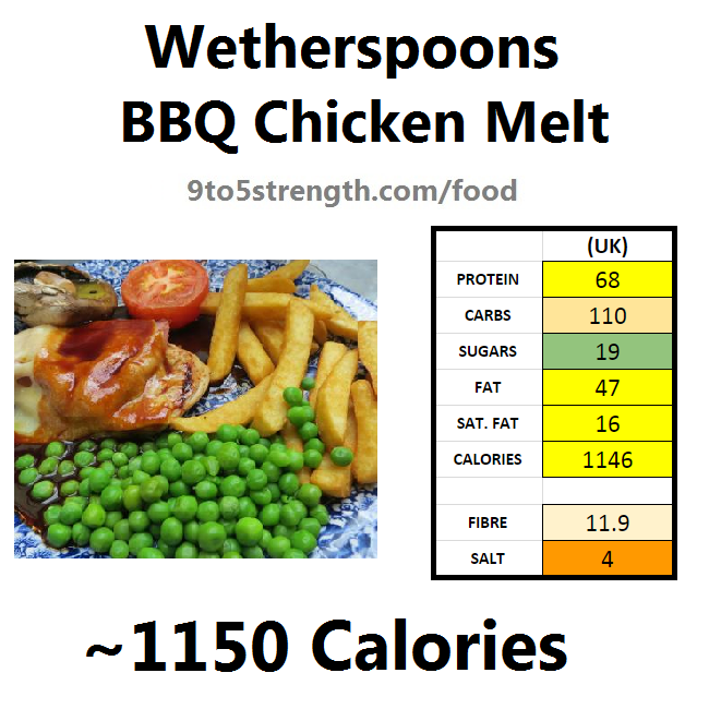 wetherspoons nutrition information calories bbq chicken melt