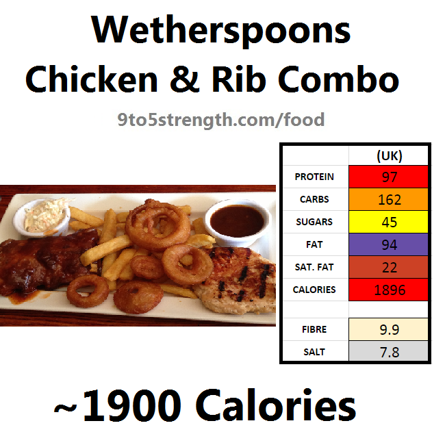 wetherspoons nutrition information calories chicken rib combo