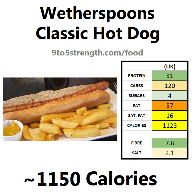 wetherspoons nutrition information calories classic hot dog