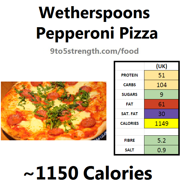 wetherspoons nutrition information calories pepperoni pizza