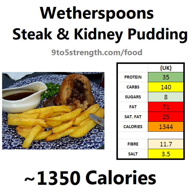 wetherspoons nutrition information calories steak kidney pudding