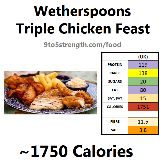 wetherspoons nutrition information calories triple chicken feast