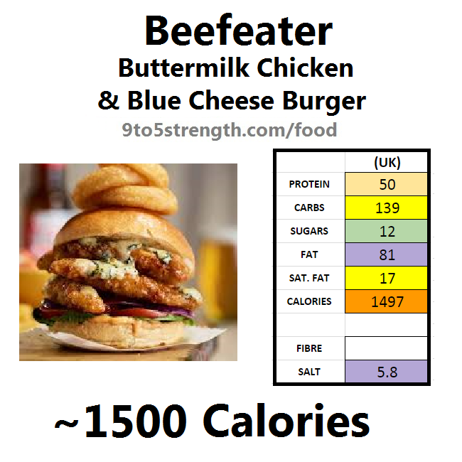 calories in beefeater buttermilk chicken blue cheese burger
