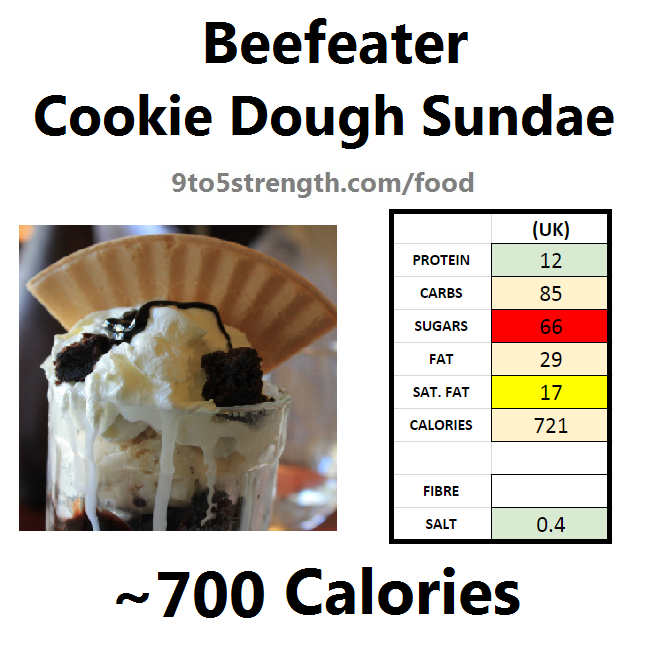 calories in beefeater cookie dough sundae