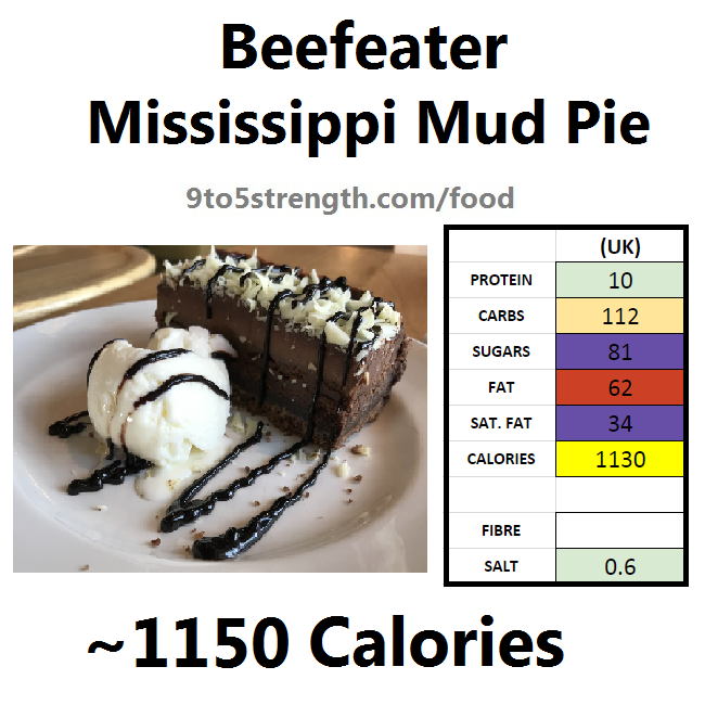 calories in beefeater mississippi mud pie