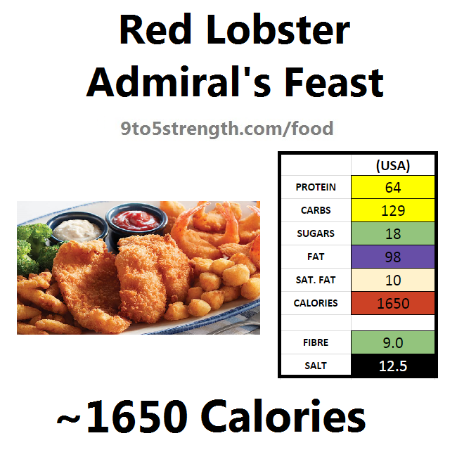nutrition information calories red lobster admiral's feast