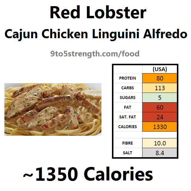 nutrition information calories red lobster cajun chicken linguini alfredo
