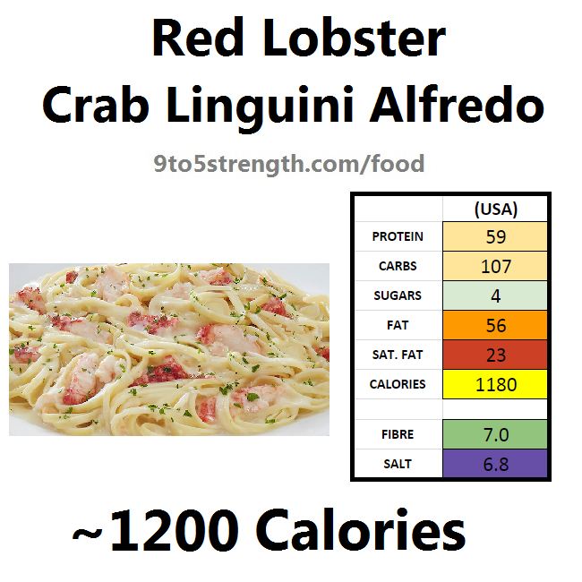 nutrition information calories red lobster crab linguini alfredo