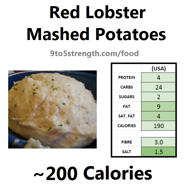 nutrition information calories red lobster mashed potatoes