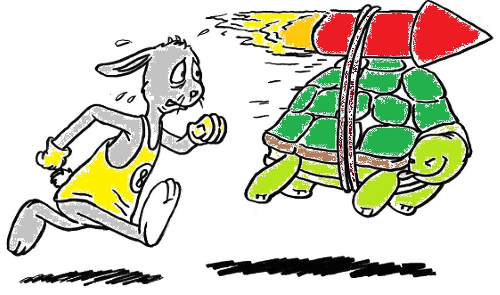 tortoise and hare cartoon colour sketch