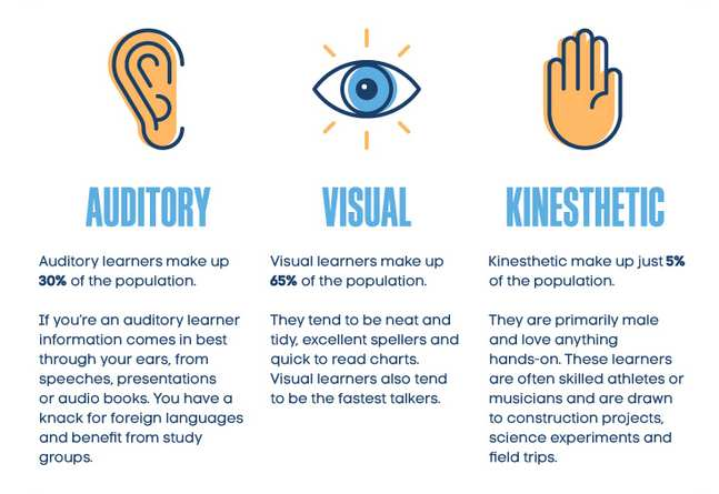 learning styles auditory viual kinesthetic