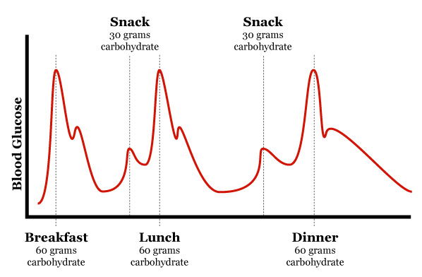 blood glucose spike meal time graph