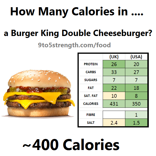 how many calories in burger king double cheeseburger