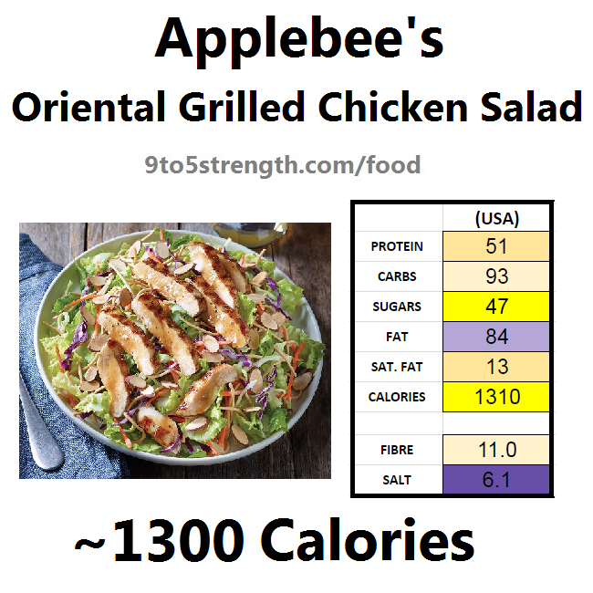 applebee's nutritional information calories oriental grilled chicken salad